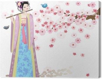 Obraz na Płótnie Piękna dziewczyna w pobliżu Oriental kwiatów wiśni