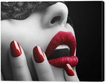 Obraz na Płótnie Piękna kobieta z czarnym koronki nad oczy maski