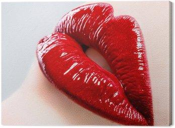 Obraz na Płótnie Piękna kobieta z Czerwone usta błyszczące bliska