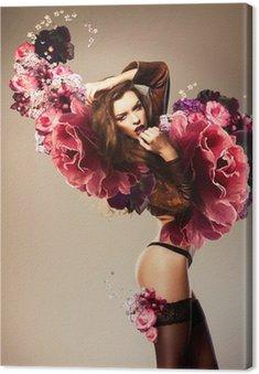 Obraz na Płótnie Piękna kobieta z kwiatem erotyczne skrzydeł