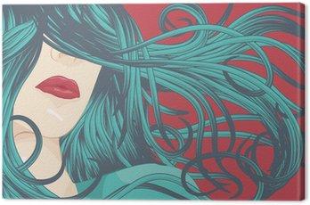 Piękna kobieta z niebieskimi włosami szczegółowego