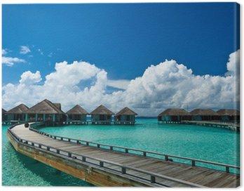 Obraz na Płótnie Piękna plaża z wody bungalowów