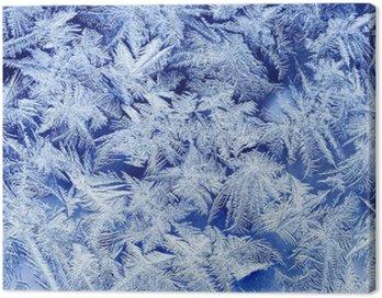 Obraz na Płótnie Piękna świąteczna mroźny wzór z Białe płatki śniegu na niebieskim tle na szkle