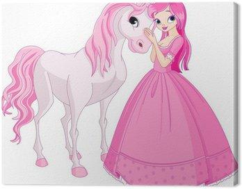 Obraz na Płótnie Piękne księżniczki i koń