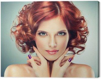 Obraz na Płótnie Piękne modelu z kręcone włosy czerwony
