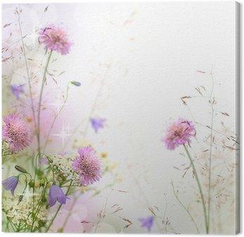 Obraz na Płótnie Piękne pastelowe kwiatów granicy - niewyraźne tło