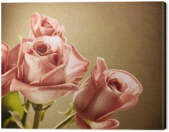 Obraz na Płótnie Piękne różowe róże. rocznika stylu. sepia