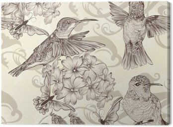 Obraz na Płótnie Piękne tła bez szwu tapety z humingbirds w rocznika