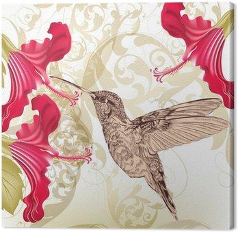 Obraz na Płótnie Piękne wektora tła z kolibra i kwiaty
