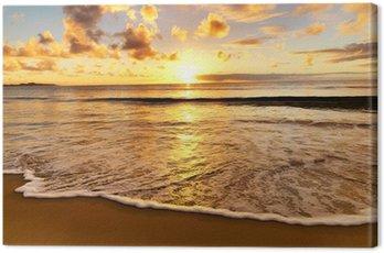Obraz na Płótnie Piękny zachód słońca na plaży