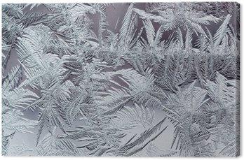 Obraz na Płótnie Piękny zimowy mroźny wzór wykonany z przezroczystego kruchych kryształów na szybie
