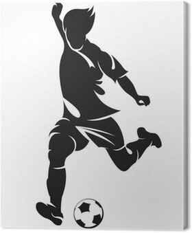 Obraz na Płótnie Piłka nożna wektorowe (soccer) sylwetka gracza z kulowym odizolowanych