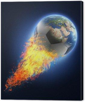 Obraz na Płótnie Piłka przekształcenie Ziemi na czarnym tle