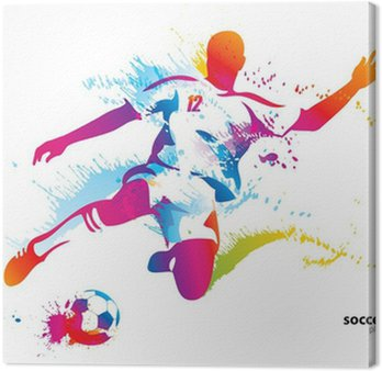 Obraz na Płótnie Piłkarz kopie piłkę. kolorowych ilustracji wektorowych