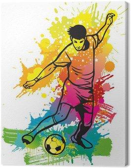 Obraz na Płótnie Piłkarz kopie piłkę