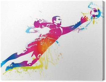 Obraz na Płótnie Piłkarz łapie piłkę