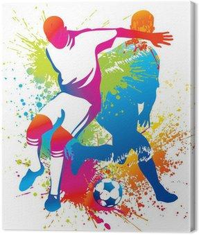 Obraz na Płótnie Piłkarze z piłką nożną