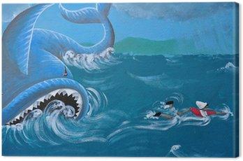 Obraz na Płótnie Pinokio drewniane włoski marionetka i wieloryb