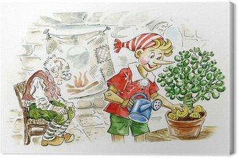 Obraz na Płótnie Pinokio grzebiąc złote monety w doniczce