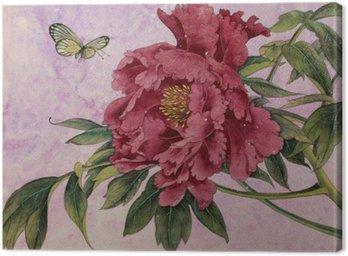 Obraz na Płótnie Piwonia delikatna i motyl