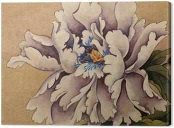Obraz na Płótnie Piwonia kwiat na żółtym tle