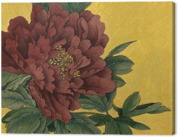 Obraz na Płótnie Piwonia kwiaty na złotym tle