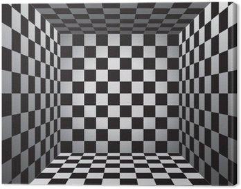 Obraz na Płótnie Plaid pokój, czarno-białe komórki, 3d szachownica, wektor wzór tła
