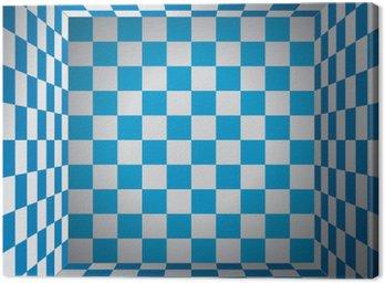 Obraz na Płótnie Plaid pokój, niebieski i biały komórka, 3D Chess box, Oktoberfest wektor wzór tła