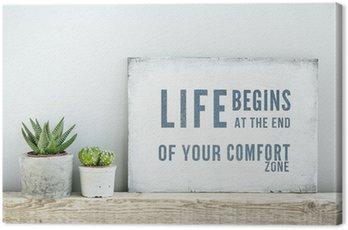 Obraz na Płótnie Plakat motywacyjny cytat życie zaczyna NA KONIEC Comfort Zone