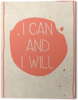 Obraz na Płótnie Plakat z ręcznie napisany cytat, grunge pomarańczowym tle