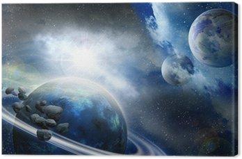 Obraz na Płótnie Planet i meteorytów w przestrzeni