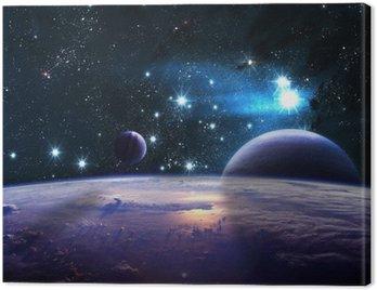 Obraz na Płótnie Planety ponad mgławic w przestrzeni