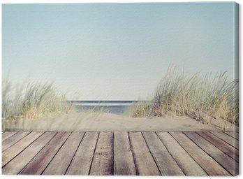 Obraz na Płótnie Plaża i drewniane deski