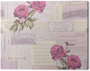 Obraz na Płótnie Płynnie płytki kolażu papieru wzór z piwonii