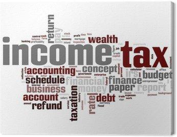 Obraz na Płótnie Podatek dochodowy chmura słowo