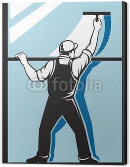Obraz na Płótnie Podkładka pracownik mycie okien sprzątanie