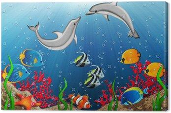 Obraz na Płótnie Podwodny świat z delfinami i ryb tropikalnych