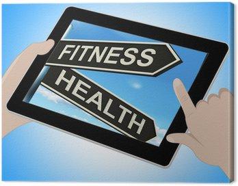 Obraz na Płótnie Pokazy ćwiczeń tablet zdrowia i dobre samopoczucie wypracować