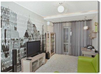 Pokój dzienny z nadrukiem na ścianie i kanapa zielony