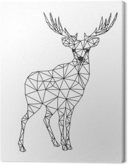 Poli niski charakter jelenia. Designs for Xmas. Christmas ilustracji w stylu sztuki linii. Pojedynczo na białym tle.