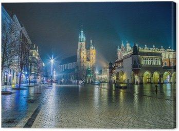 Obraz na Płótnie Polska, Kraków. Rynek w nocy.