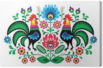 Polski kwiatowym haftem w kurki - tradycyjny wzór ludowy