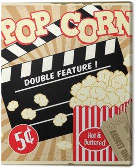 Obraz na Płótnie Popcorn z Radą grzechotka i bilety do kina plakat rocznika