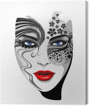 Portret dziewczyny maskę na twarz tatuaż tatuaż wektor dziewczyny