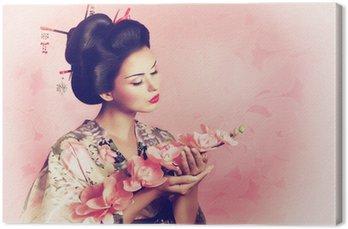 Obraz na Płótnie Portret kobiety geisha japoński