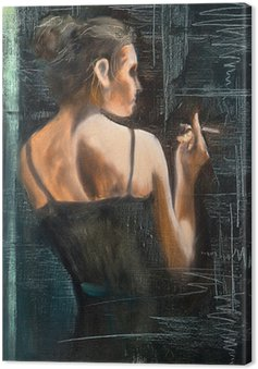 Obraz na Płótnie Portret kobiety z papierosem