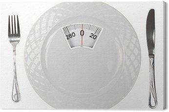 Obraz na Płótnie Posiłek diety. Płytka ze skalą wagi