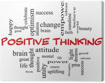 Obraz na Płótnie Positive Thinking Słowo Koncepcja Cloud w czerwonych czapkach