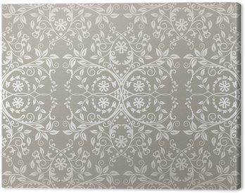 Obraz na Płótnie Powtarzalne srebrny koronki kwiatów i liści tapety
