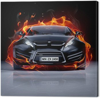 Obraz na Płótnie Pożar samochodu na lodzie. Brandless samochód sportowy.